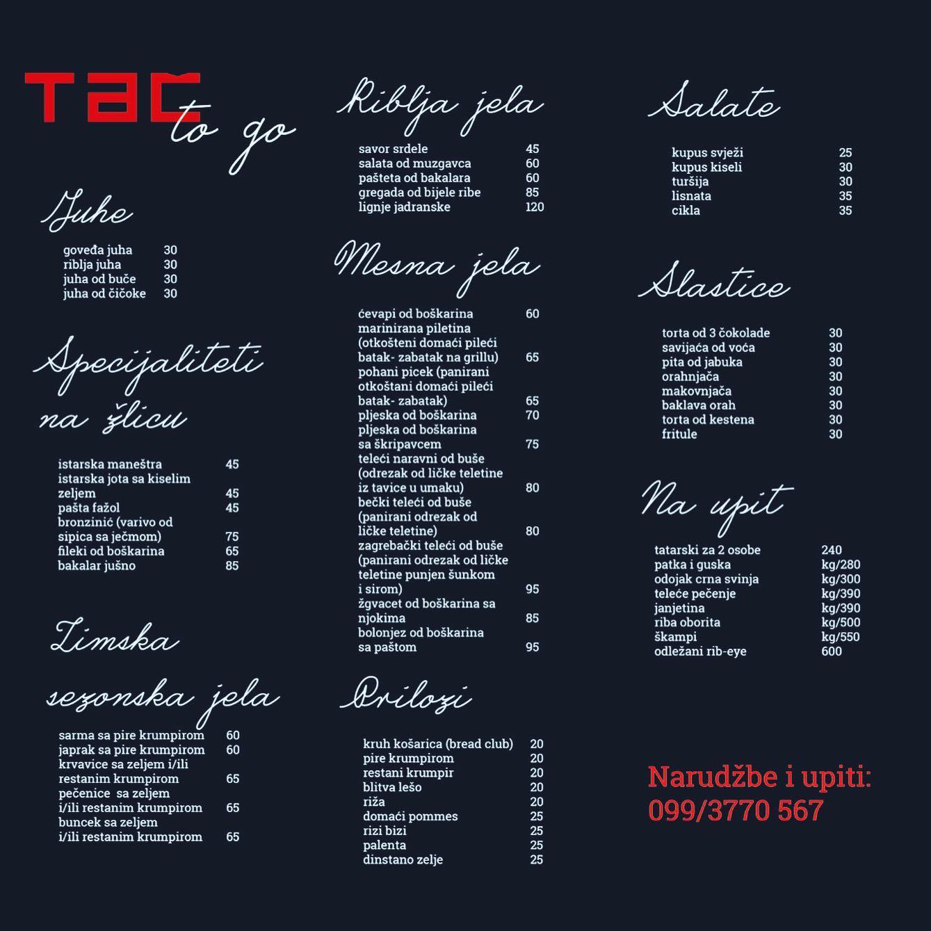tac menu